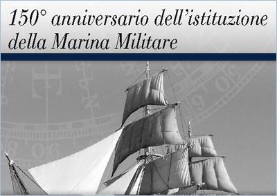 Folder filatelico 150° anniversario dell'istituzione della Marina Militare