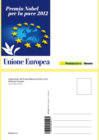 Cartolina Filatelica Premio Nobel per la pace 2012 all'Unione Europea - Biancolapis - Design per la Comunicazione