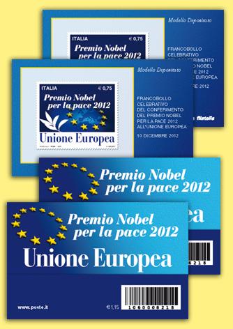 Tessera Filatelica Premio Nobel per la pace 2012 all'Unione Europea - Biancolapis - Design per la Comunicazione
